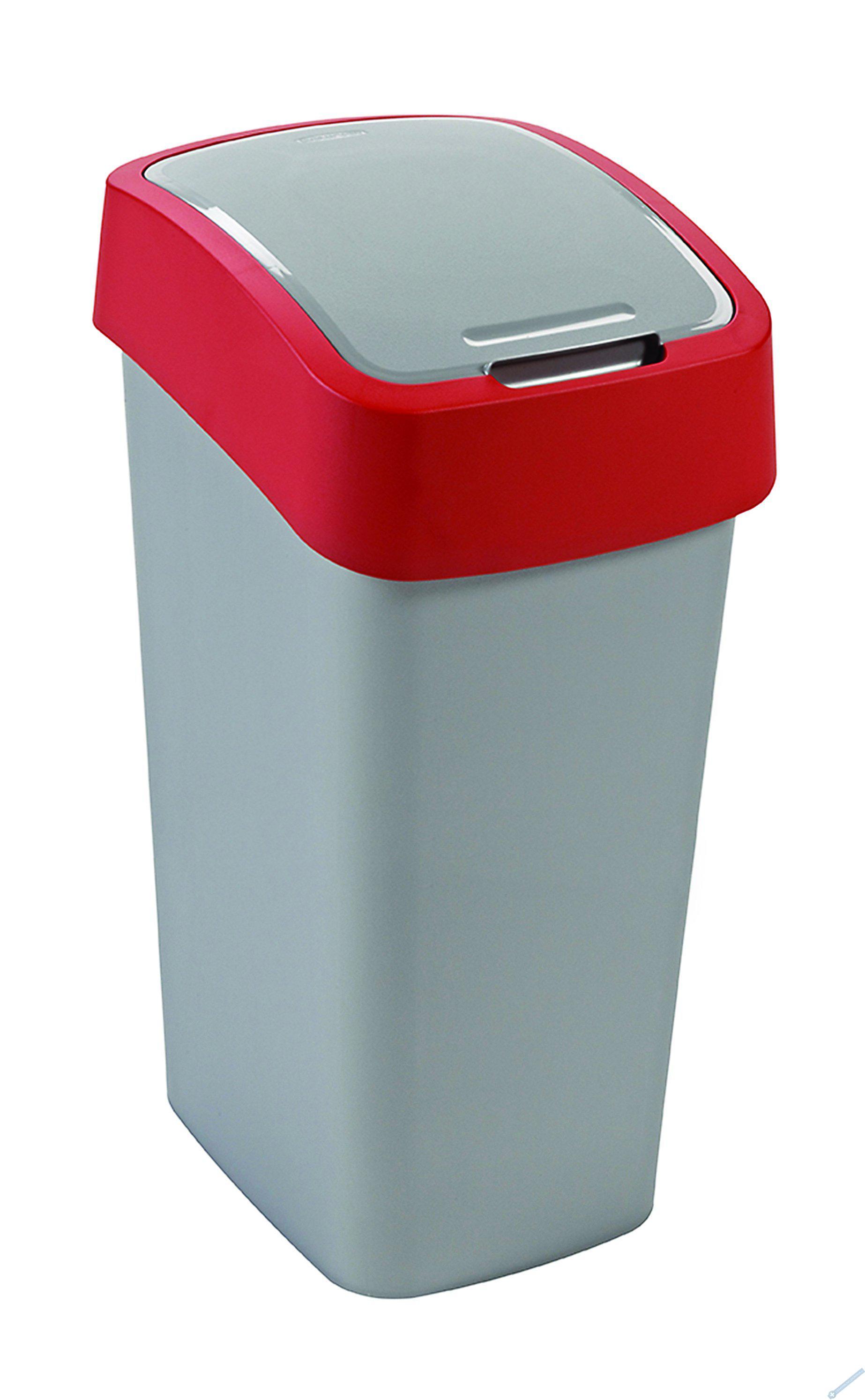 Odpadkový koš FLIP BIN 50l stříbrný/červený
