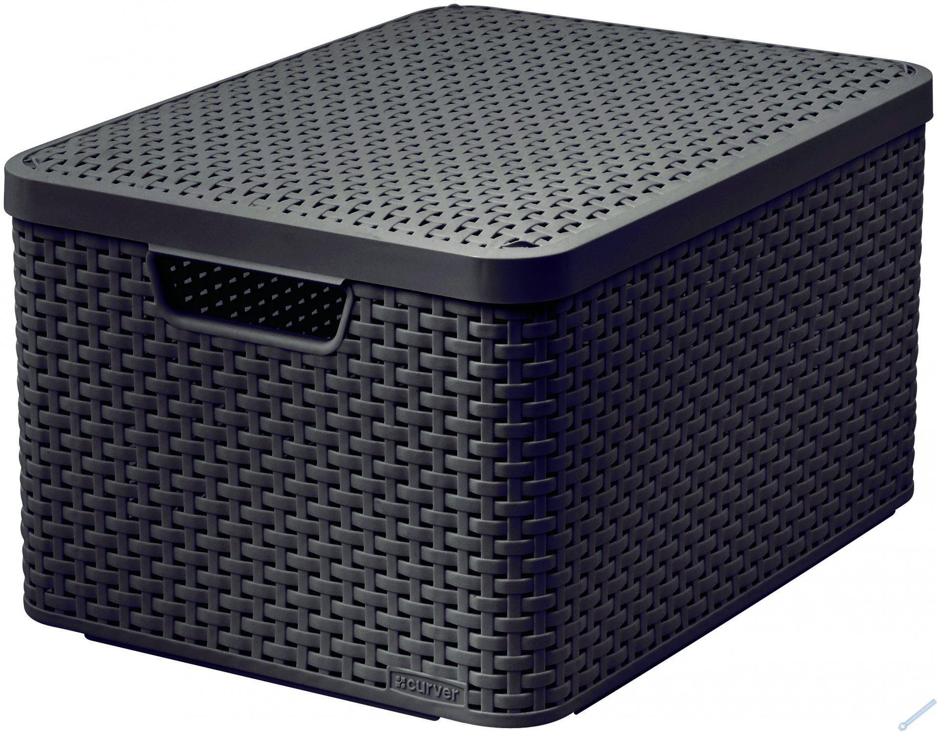 Úložný box STYLE L hnědý s víkem