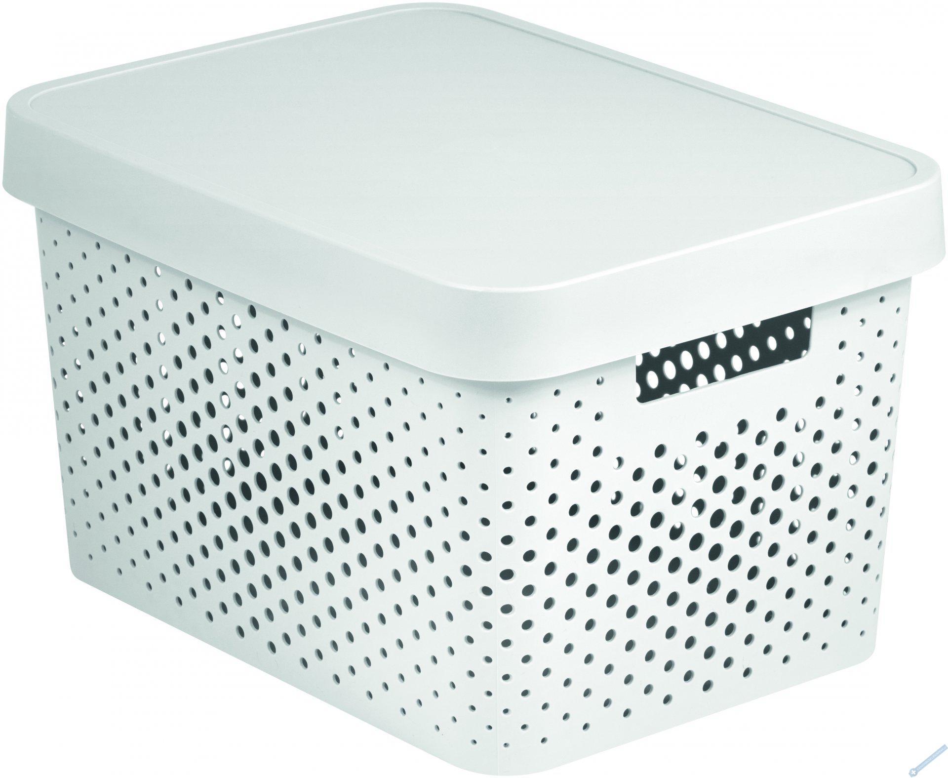 Úložný box INFINITY 17l s víkem bílý puntíky