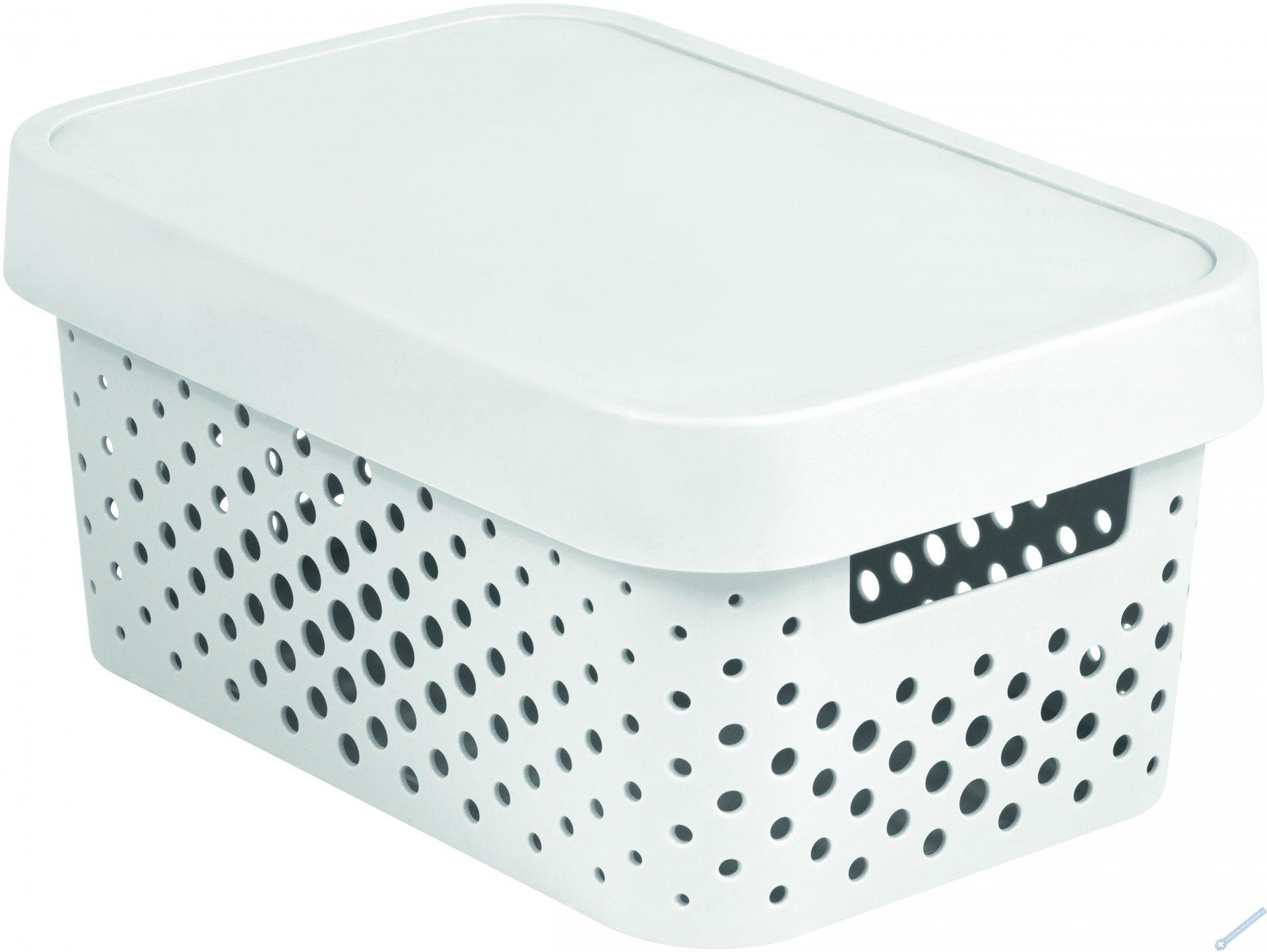 Úložný box INFINITY 4,5l s víkem bílý puntíky