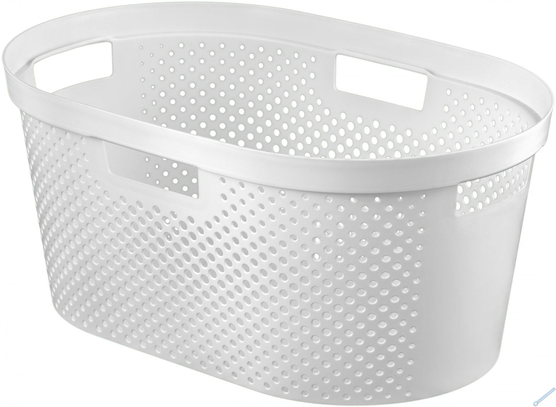 Koš na čisté prádlo INFINITY 39L bílý puntíky