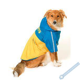 Pláštěnka pro psa s odnímatelnou kapucí. Vyjímatelná fleece uvnitř. 40cm