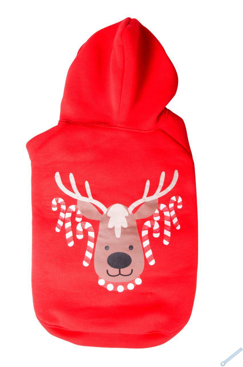 Vánoční mikina pro psa červená 30cm
