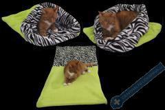 Spací pytel pro kočky XL - světle zelená/zebra