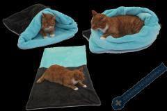 Spací pytel pro kočky XL - tmavě šedá/tyrkysová