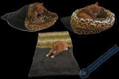 Spací pytel pro psy XL - tmavě šedá/leopard