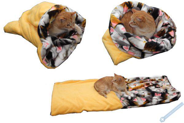 Spací pytel pro kočky XL - žlutá/kočky