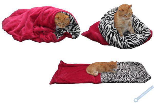Spací pytel pro kočky XL - fuchsiová/zebra