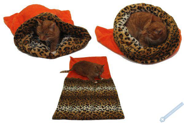 Spací pytel pro kočky XL - oranžová/leopard