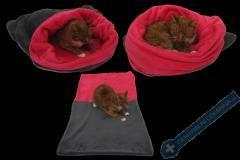 Spací pytel pro kočky XL - šedá/tmavě růžová