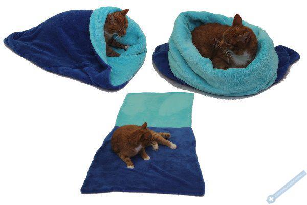 Spací pytel pro kočky XL - modrá/tyrkysová