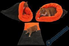 Spací pytel pro kočky XL - tmavě šedá/oranžová