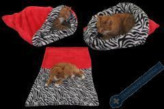 Spací pytel pro kočky XL - červená/zebra