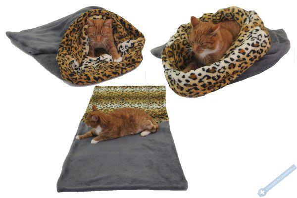 Spací pytel pro kočky XL - šedá/leopard