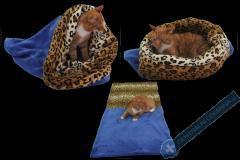 Spací pytel pro kočky XL - modrá/leopard
