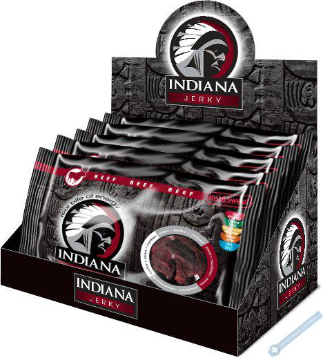 INDIANA Jerky hovězí, Hot & Sweet, 500g - display