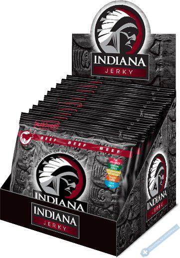 INDIANA Jerky hovězí, Hot & Sweet, 600g - Display